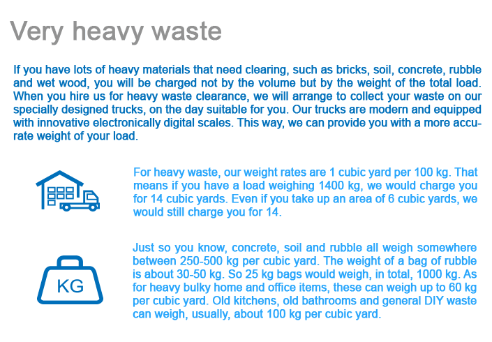 Very Heavy Waste Removal Costs